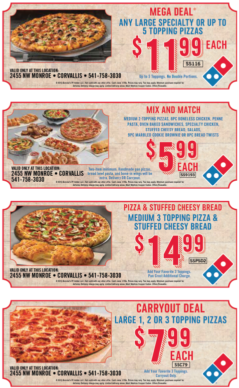 Dominos free pasta coupon