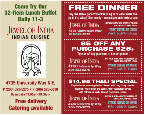 Jewel of india restaurant coupon uw student survival kit for Akbar cuisine of india coupon