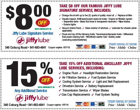 Jiffy Lube Coupon Uo Student Survival Kit