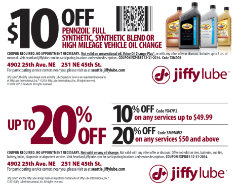 Minute lube coupons