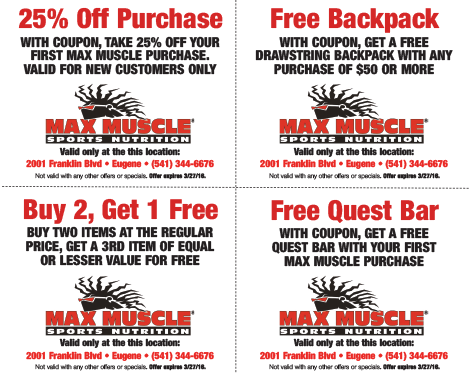 About Max Muscle. Discover our latest Max Muscle coupons, including 4 Max Muscle promo codes and 21 deals. Make the best of our Max Muscle coupon codes .