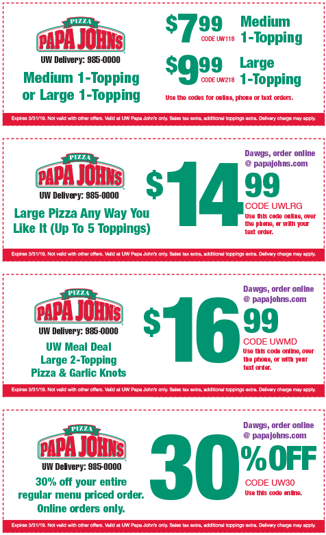 Papa John's Delivery or Carryout Pizza - Order Online and have your pizza delivered. Use a Papa Johns coupon found on this page to access discounts and special offers on your next online or in-store order. There are always savings to be had, to be sure to subscribe to this page to stay on top of the latest offers. How to Use Papa Johns Coupons.