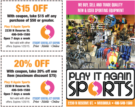 Current Play It Again Sports Coupons. Last updated over 5 years ago. View Play It Again Sports Deals. All (1) Codes (0) Sales (1) Receive a Military Discount. Advertiser Disclosure. Expires Dec Receive a discount when you present a military ID at Play It Again Sports. Discount varies per location. Go to Sale View Play It Again Sports.