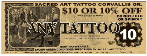 Sacred art tattoo coupon osu student survival kit for Sacred art tattoo corvallis