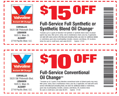 VALVOLINE OIL CHANGE DISCOUNT COUPON