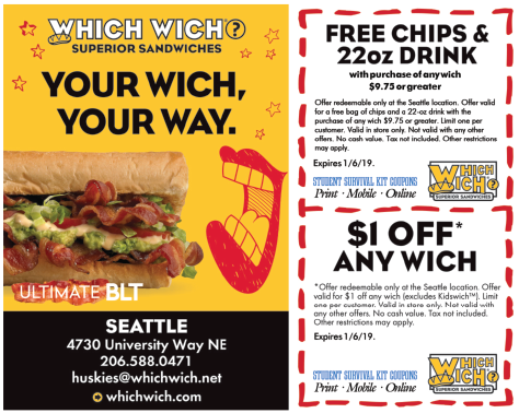 3 active Which Wich Promo Codes & Coupons Visitors save an average of $; Which Wich is a leading chain of sandwich and salad specialty fast food restaurants in the United States. By using the latest Which Wich coupons available on our website allereader.ml, you can be sure to get some nice deals and offers at Which Wich.